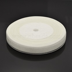 White Color Sheer Organza Ribbon Wedding Party Decoration, 1/2 inch(12mm), 50yards/roll(45.72m/roll)(X-RS12mmY001)