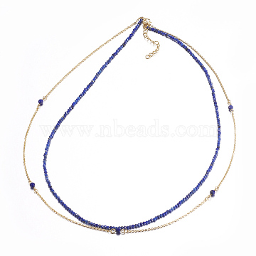 Faceted Natural Lapis Lazuli Tiered Necklaces, Layered Necklaces, with Brass Findings, 16.5inches(42cm)(NJEW-F212-06B)