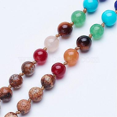 Natural Picture Jasper Beaded Necklaces(NJEW-P159-03)-2