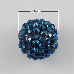 SteelBlue Chunky Resin Rhinestone Ball Beads for Chunky Kids Necklace Jewelry, 14x12mm, Hole: 2mm(X-RESI-S260-14mm-S16)