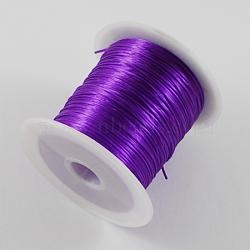 chaîne de cristal élastique plat, fil de perles élastique, pour la fabrication de bracelets élastiques, teints, Darkviolet, 0.8 mm, 11 m / rouleau(EW-0.8D-01)