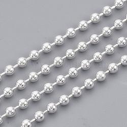 chaînes à billes en laiton soudé, avec bobine, plaqué argent, 2.3 mm(X-CHC-S008-003D-S)