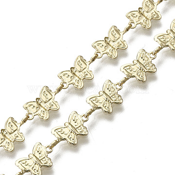 Brass Butterfly Link Chains, for Jewelry Making, Long-Lasting Plated, Unwelded, Light Gold, 6x11x2.5mm(CHC-N018-055)
