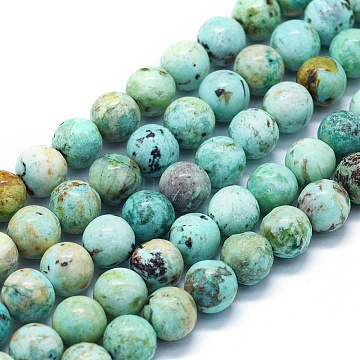 Natural Peruvian Turquoise(Jasper) Beads Strands, Grade A, Round, 8mm, Hole: 1mm, about 48~49pcs/Strand, 15.35 inches(39cm)(G-E561-11-8mm-A)
