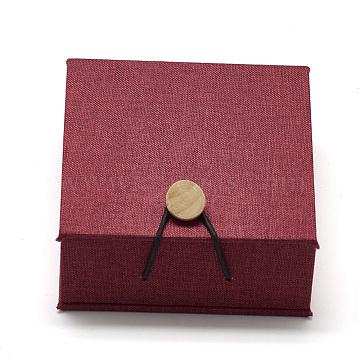 Wooden Bracelet Boxes, with Velvet, Square, FireBrick, 10.5x10.1x4.4cm(OBOX-Q014-04)