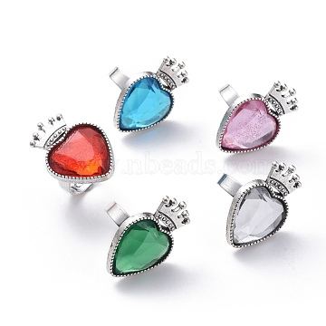 Adjustable Imitation Taiwan Acrylic Rhinestone Finger Rings, with Iron Finger Ring Components and Alloy Cabochon Bezel Settings, Heart & Crown, Mixed Color, Size 7, 17mm(Adjustable)(X-RJEW-JR00282-M)