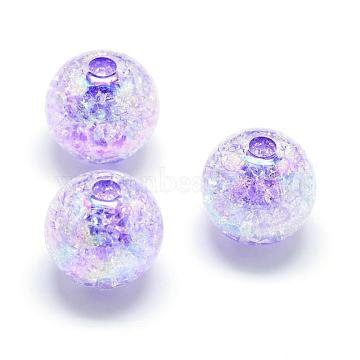 Crackle Style Acrylic Beads, AB Colour, Inside Color, Round, Mauve, 20mm, Hole: 2.5mm; about 110pcs/500g(MACR-S825-20mm-C)