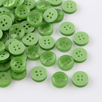 4-Hole Plastic Buttons, Flat Round, Green, 11x3mm, Hole: 1.5mm(BUTT-R037-01)