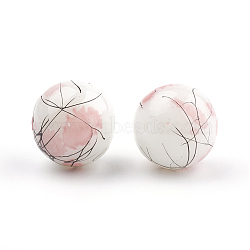 Drawbench & Baking Painted Glass Beads Strands, Round, Pink, 4mm, Hole: 1.1~1.3mm, about 200pcs/strand, 31.4 inches(X-GLAA-S176-4mm-05)