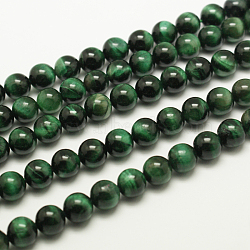 Natural Tiger Eye Beads Strands, Round, Dyed & Heated, MediumSeaGreen, about 6mm in diameter, hole: 1mm