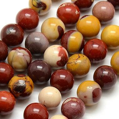 10mm DarkRed Round Mookaite Beads