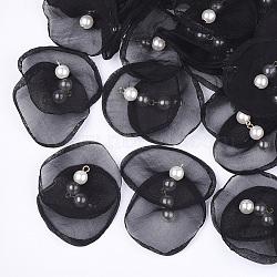 pendentifs en organza, avec des résultats de fer et de perles d'imitation en plastique ABS, or et de lumière, noir, 40~55x43~53 mm, trou: 2 mm(FIND-S303-02A)
