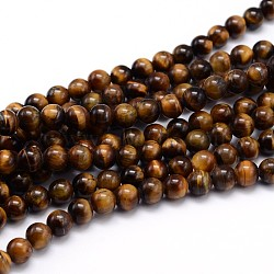 Natural Tiger Eye Beads Strands, Grade A, Round, 10mm, Hole: 1mm; about 40pcs/strand, 16inches