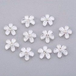 Décorations d'art d'ongle, Cabochons en résine transparente, avec strass, fleur, blanc, 10x2.5mm(MRMJ-T003-01A)