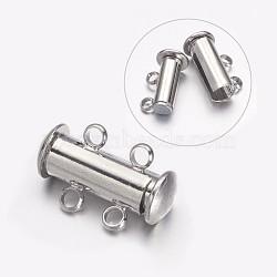 Fermoirs à coulisse en laiton à  2-brins, 4 trous, platine, 15x11.5x6mm, Trou: 2.5mm(X-KK-S131-15)