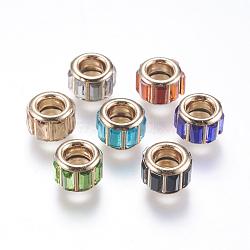 Strass de verre en laiton perles européennes, Perles avec un grand trou   , coeur d'or, colonne, couleur mixte, 10x7mm, Trou: 5mm(CPDL-M017-M)