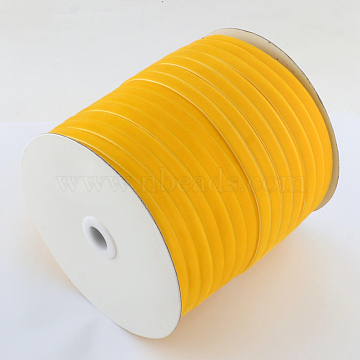 1/4inch Single Face Velvet Ribbon, Gold, 1/4inch(6.5mm); about 200yards/roll(182.88m/roll)(OCOR-R019-6.5mm-019)