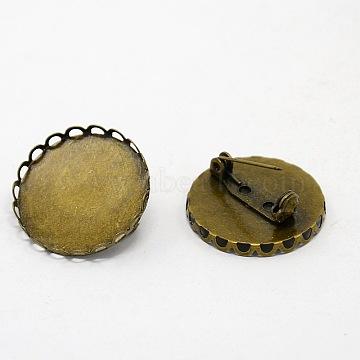 Antique Bronze Brass Brooch Base Settings