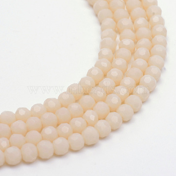 Opaque Solid Glass Bead Strands, Faceted Round, Bisque, 4~5mm, Hole: 0.5mm; about 100pcs/strand, 14.7 inches(X-GLAA-R166-4mm-02D)