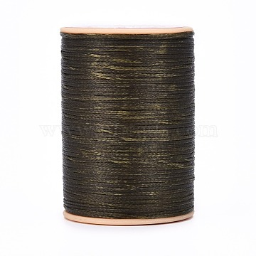 Flat Waxed Thread String, for Leather Sewing Stitching, Coffee, 0.8mm, about 109.36 yards(100m)/roll(X-YC-P003-A04)