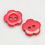 Resin Buttons, Dyed, Flower, Red, 11x2.4mm, Hole: 1.6~1.8mm; about 1000pcs/bag