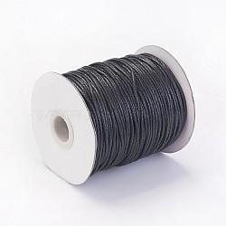 воском хлопчатобумажная нить шнуры, черный, 1.5 мм; около 100 ярдов / рулон (300 футов / рулон)