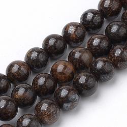 """Chapelets de perles en bronzite naturel, rond, 12mm, trou: 1mm; environ 34 pcs/chapelet, 15.7""""(G-S272-01-12mm)"""