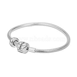 Tinysand® sterling Bracelet argent européen commun avec bouchons, argenterie, 210mm; taille d'emballage: 11x11.4x2.3cm(TS-BS003-S-21)