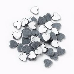 Cabochons en acrylique floqués, cœur, grises , 9.5x9.5x2mm(OACR-I001-F02)