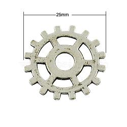 Pendentifs de style tibétain , sans plomb, engrenages de roue, argent antique, 25x1mm(X-TIBEP-AB5006-AS-LF)