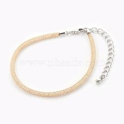 """Bracelets à mailles en laiton, avec perles de verre à l'intérieur et pinces de homard, clair, or, 6-7/8"""" (17.6cm) ~ 7-1/4"""" (18.5cm)(BJEW-F358-01G)"""