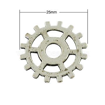 тибетский стиль Стимпанк подвески, свинца, шестерня, Старинное серебро, 25x1 mm(X-TIBEP-AB5006-AS-LF)