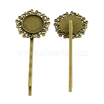 Flower Hair Bobby Pin Findings, Iron with Alloy Cabochon Bezel Settings, Cadmium Free & Nickel Free & Lead Free, Antique Bronze, 65x24x6mm, Flat Round Tray: 14mm(X-PALLOY-Q299-24AB-NR)