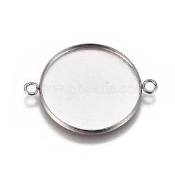 304 настройки разъема кабошона из нержавеющей стали, чашки безель с краем, плоские круглые, нержавеющая сталь цвет, лоток: 25 мм; 34x26.8x2 мм, отверстия: 2.2 mm(X-STAS-G127-14-25mm-P)
