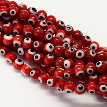 Handmade Evil Eye Lampwork Round Bead Strands, Dark Red, 8mm, Hole: 1mm, about 49pcs/strand, 14.17 inches(X-LAMP-L055-8mm-10)