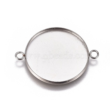 304 Stainless Steel Cabochon Connector Settings, Plain Edge Bezel Cups, Flat Round, Stainless Steel Color, Tray: 25mm; 34x26.8x2mm, Hole: 2.2mm(X-STAS-G127-14-25mm-P)