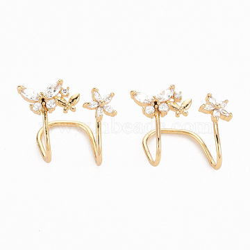 Brass Micro Pave Clear Cubic Zirconia Cuff Earrings, Nickel Free, Butterfly with Flower, Real 18K Gold Plated, 18x20x15mm(EJEW-N047-001-NF)