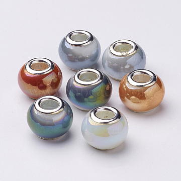 Electroplate Imitation Jade Glass  European Beads, with Silver Color Plated Brass Double Core, Full Rainbow Plated, Large Hole Rondelle Beads, Mixed Color, 14~15x11mm, Hole: 4.5~5mm(X-GPDL-Q015-01)