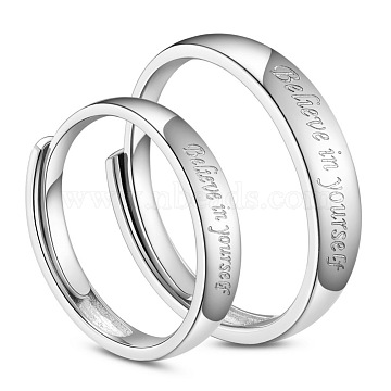 SHEGRACE 925 Sterling Silver Couple Rings, Promise Ring, Carved with Word Believe in yourself, Platinum, Men: 20mm; Women: 18mm(JR669A)