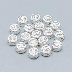 Perles 925 en argent sterling, plat et circulaire avec yin yang, argenterie, 7.5x4mm, Trou: 1.4mm(STER-T002-70S)