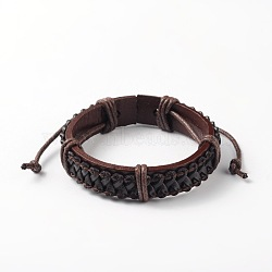 Bracelets réglables unisexe en corde de peau de vache, coconutbrown, 55x56mm(BJEW-L544-12B)