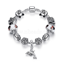 Bracelets européens de mode en laiton, avec des perles de Murano exquis et belle argent antique plaqué perles en alliage, blanc, 180mm(BJEW-FF0001-127-18cm)