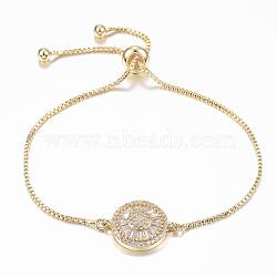 bracelets réglables en laiton à micro-pavé de zircone cubique, bracelets bolo, plat rond, or, 10-1 / 4 (260 mm); 1.2 mm(BJEW-E317-34G)
