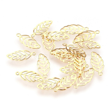 304 Stainless Steel Pendants, for DIY Jewelry Making, Leaf, Golden, 13x5.5x0.2mm, Hole: 0.8mm (X-STAS-G176-42G)
