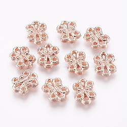 Alliage liens multi-stands, fleur, or rose, 13x9.5x2.5mm, Trou: 0.5~1mm(PALLOY-E450-12RG-AAA)