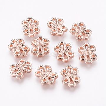 Alloy Multi-Strand Links, Flower, Rose Gold, 13x9.5x2.5mm, Hole: 0.5~1mm(PALLOY-E450-12RG-AAA)