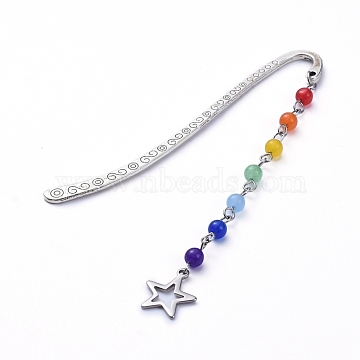 Chakra Theme, Tibetan Style Alloy Bookmarks, with Natural & Dyed Malaysia Jade Beads and 304 Stainless Steel Pendants, Star, Colorful, 84x4.5x1.3mm, Pendants: about 86x12.5x4.5mm(AJEW-JK00160-04)