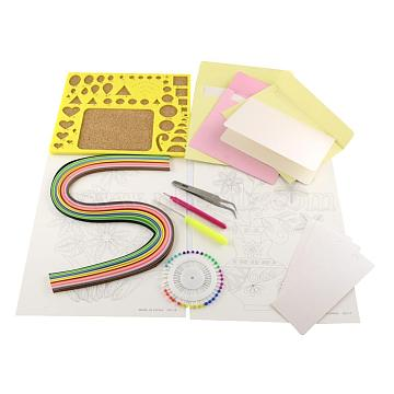 DIY Paper Quilling Strips Sets: 16 Color Paper Quilling Strips, Random Color Paper Quilling Tool, Bookmark and Cards, Mixed Color, 30x22x2.5cm(DIY-R041-05)