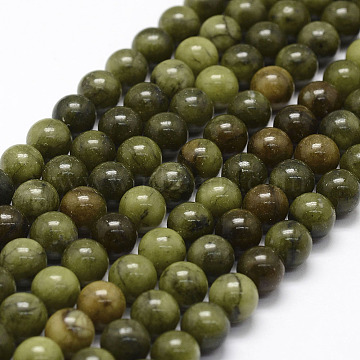 Natural Chinese Jade Beads Strands, TaiWan Jade, Round, 8mm, Hole: 1.1mm; about 48pcs/strand, 15.4 inches(X-G-F363-8mm)