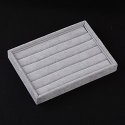 Rectangle Rings Displays, Covered with Velvet, LightGrey, 24x17.3x3.1cm(RDIS-O001-01)